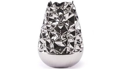 Silver Crumpled Line Vase Large
