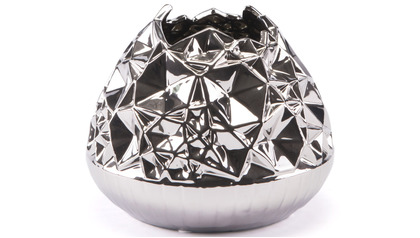 Silver Crumpled Line Vase Medium