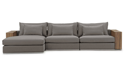 Soriano Wooden Arm Sectional - Gray