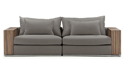 Soriano Wooden Arm 94 Inch Sofa - Gray