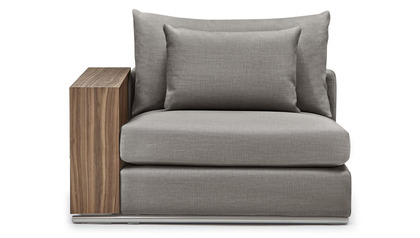 Soriano 1.5 Seater with Wooden Arm - Gray