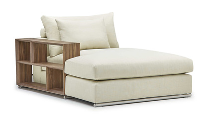 Soriano Chaise with Wooden Arm - Beige