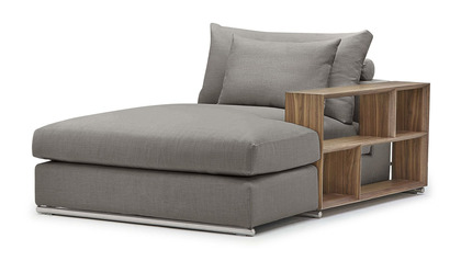 Soriano Chaise with Wooden Arm - Gray