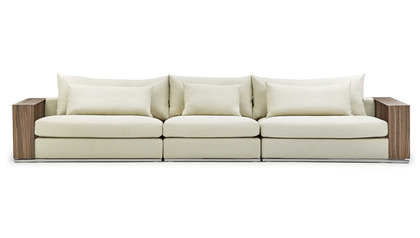 Soriano Wooden Arm 157 Inch Long Sofa - Beige