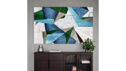"Turquoise Melange Canvas Art - 80"" x 50"""