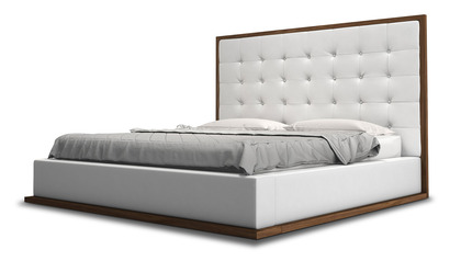 Siena Bed - White on Walnut