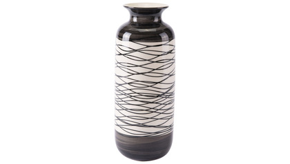 Wavy Stripes Tall Vase Black & Ivory