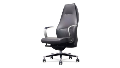 Wrigley Leather Executive Chair - Dark Grey with Black Accent