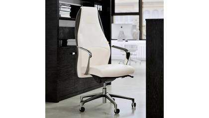 Wrigley Leather Executive Chair - White Leather with Black Accent