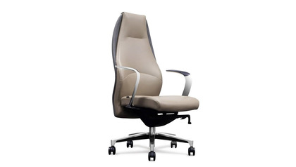 Wrigley Leather Executive Chair - Light Grey with Dark Grey Accent
