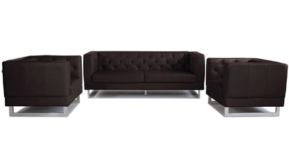 Zeta Sofa Set with 2 Armchairs - Espresso