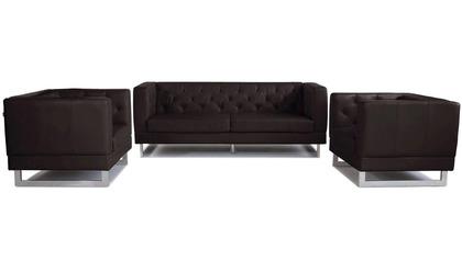 Zeta Sofa Set with 2 Armchairs - Espresso