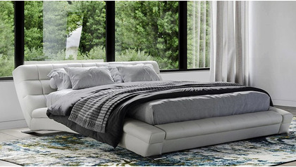 Adonis Leather Bed - White