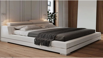 Hera Leather Bed - White