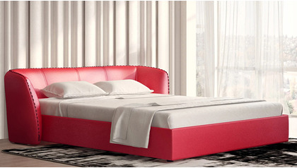 Vitali Microfiber Leather Bed - Red