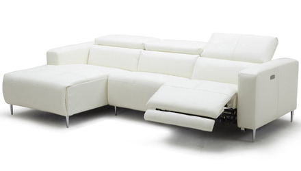 Aria Reclining Sectional - White, Left Chaise