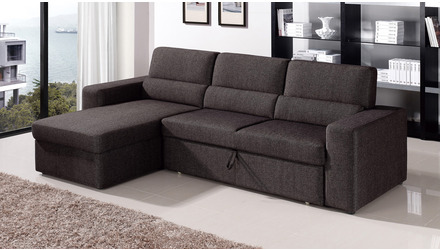 Clubber Sleeper Sectional - Black/Brown