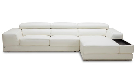 Encore Sectional - White, Right Chaise