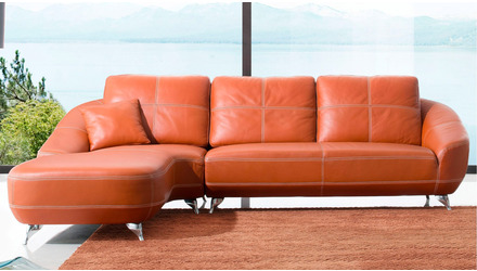 Lucy Sectional - Orange, Left Chaise