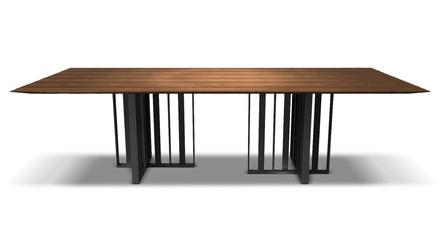Saida 106 Inch Dining Table - Walnut on Graphite