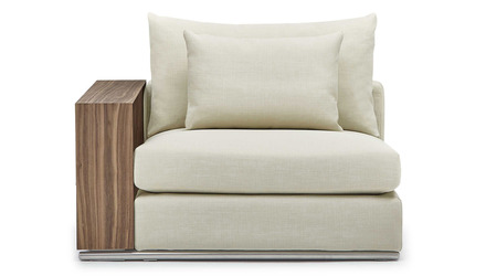 Soriano 1.5 Seater with Wooden Arm - Beige