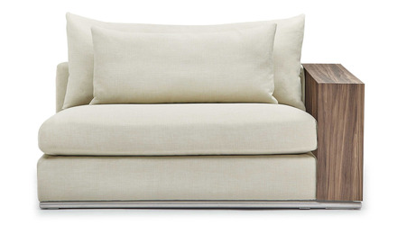 Soriano 2 Seater with Wooden Arm - Beige
