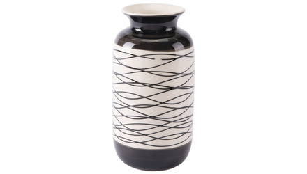Wavy Stripes Short Vase Black & Ivory