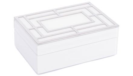 White Glass Square Box Large