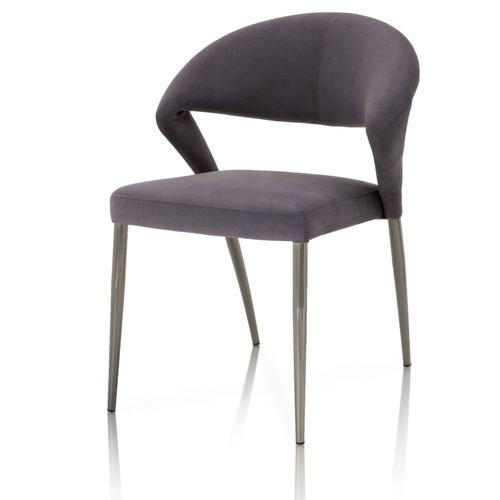 Saskia Dining Chair Grey on Black Chrome - Set of 2